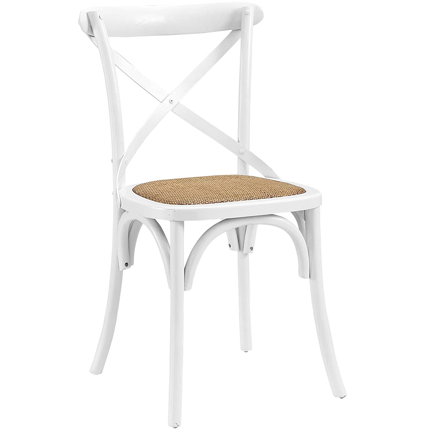 Amazon.com   Modway Gear Modern Farmhouse Cross Back Solid Elm Wood Dining  Side Chair With Rattan Seat In White   Chairs