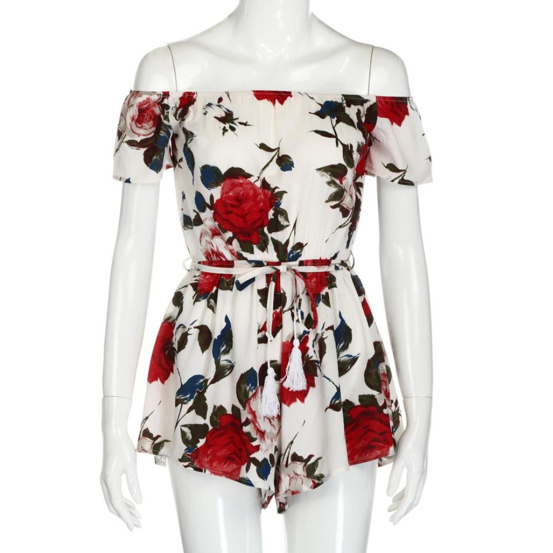 ❤️ Women Jumpsuit Xinantime Plus Size Ladies Floral Print Off Shoulder Shorts Jumpsuit Holiday Mini Playsuit