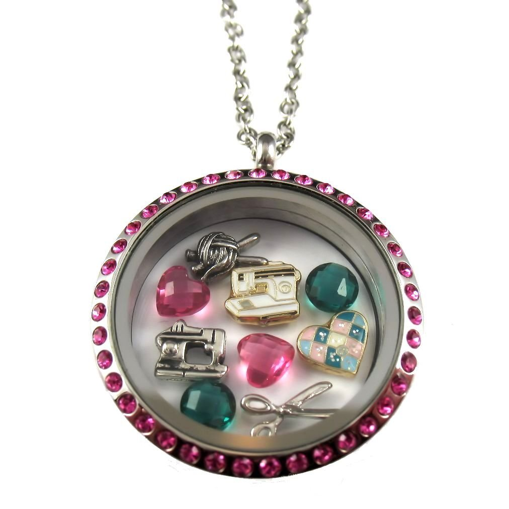 FCL Designs Sewing, Knitting, Quilting Theme Floating Charm Locket Necklace