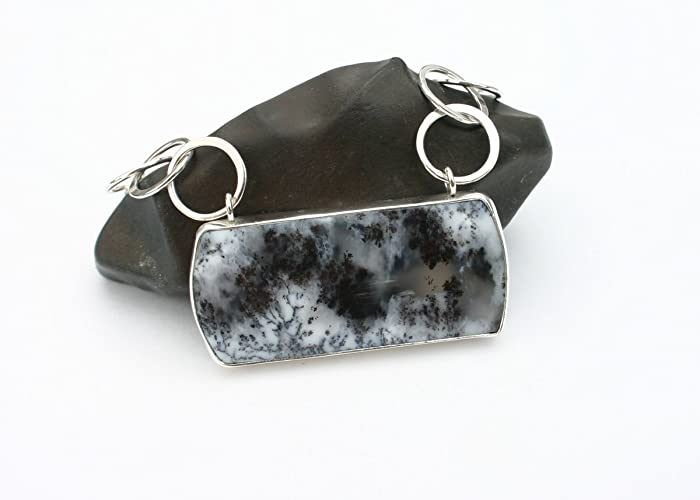 Amazon dendritic agate pendant necklace dendritic agate dendritic agate pendant necklace dendritic agate necklace black and white stone sterling silver aloadofball Choice Image