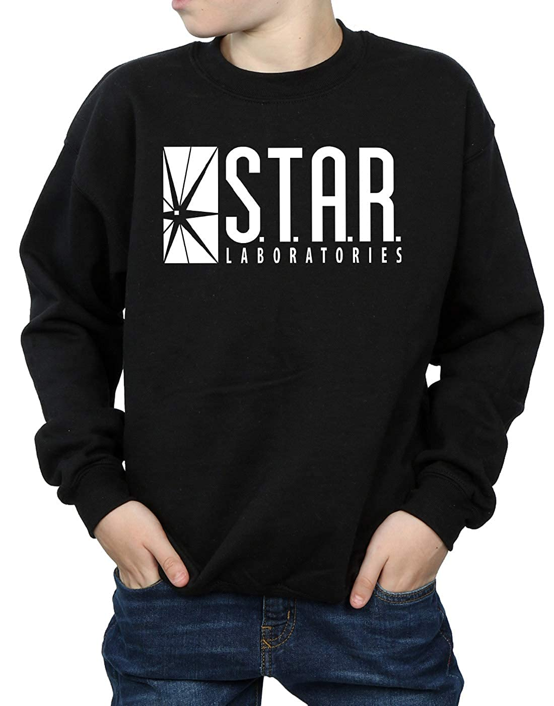 8cc6c33d69f7 Amazon.com  DC Comics Boys The Flash Star Labs Sweatshirt  Clothing