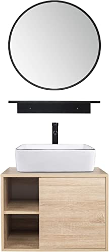 Puluomis 23.6-Inch Natural Color Wall Mounted Bathroom Vanity