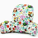 Wwang Bedrest Reading and TV Pillow with Arm Rests - Soft Plush Couch Support Bed Rests with Arms - Memory Shredded Foam Pad Pregnant Women -Lumbar, Lower Back (Owl Song)