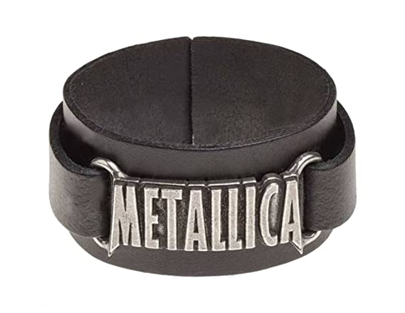 Metallica Armband classic band Logo Nue offiziell Alchemy Schwarz Leather Buckle