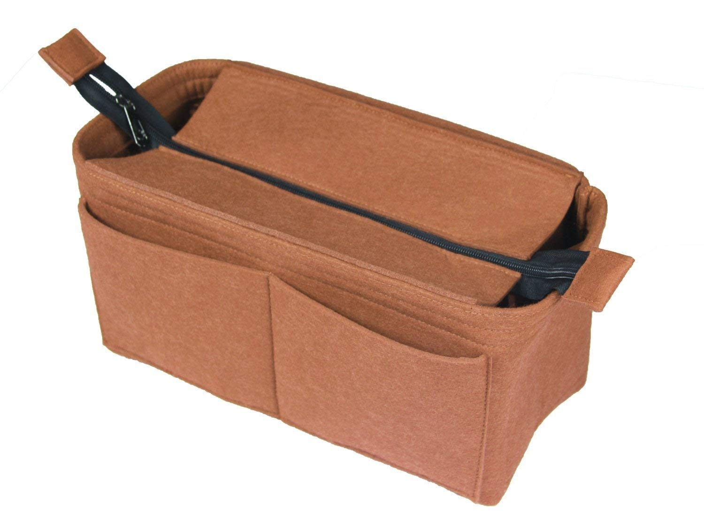 [Fits Neverfull MM/Speedy 30, Light Coffee] Felt Organizer (with Top Zipper), Bag in Bag, Wool Purse Insert, Customized Tote Organize, Cosmetic Makeup Diaper Handbag