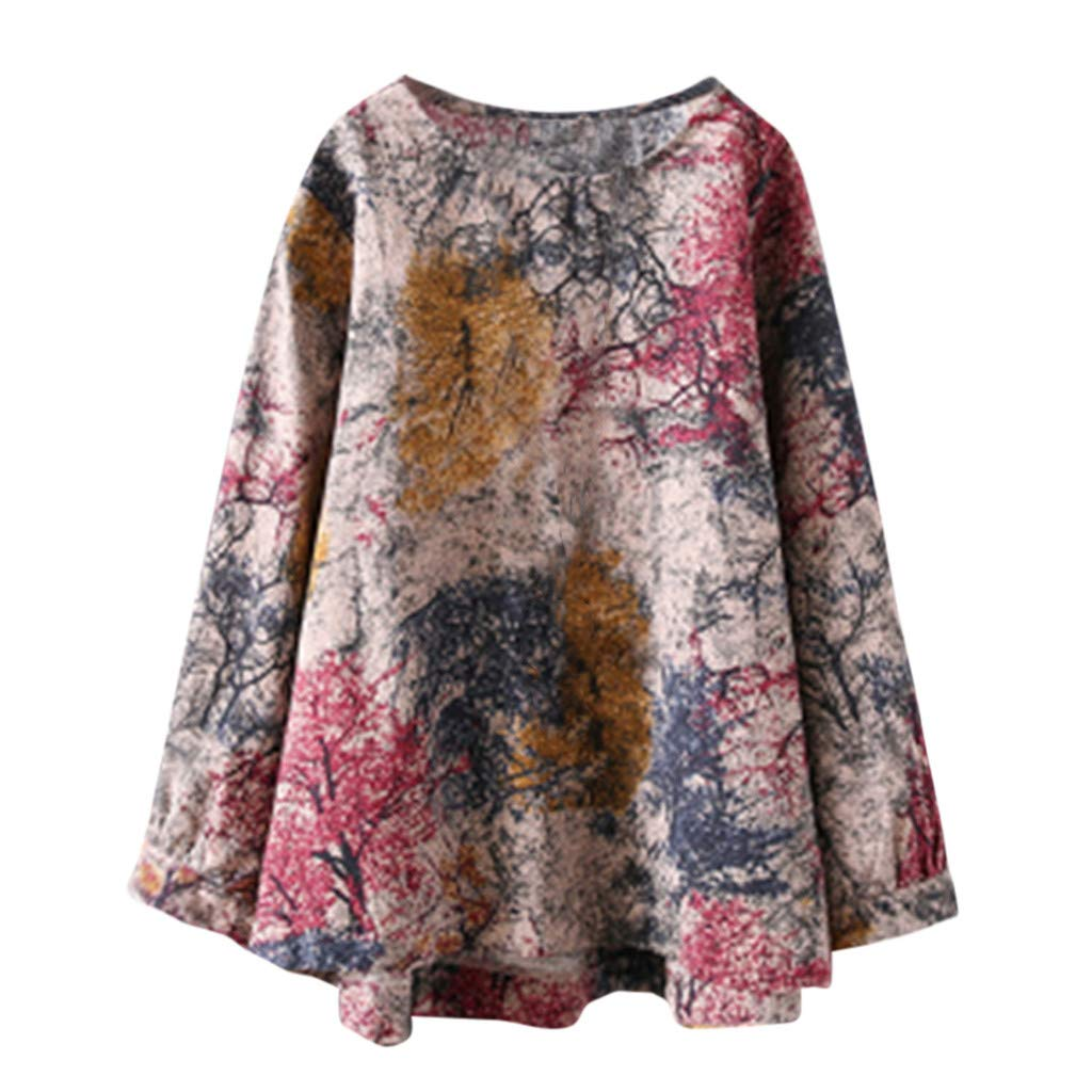 Women Summer Blouse,TWinmar Floral Print Tops Casual Long Sleeve T-Shirts Hem Cardigan Oversize S-XXXXXL Red