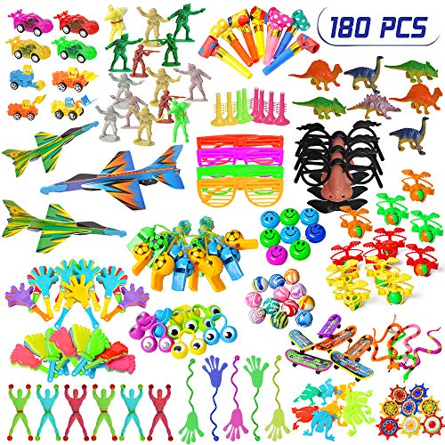 RRecomfit 180Pcs Party Favors for Kids Pinata Filler and Goodies Bags Fillers Toy Assortments, Birthday Party Carnival Prizes, School Classroom Rewards, Treasure Toy Box for Boys (Random Color)