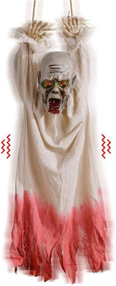 Amazon De Halloween Deko Hange Leiche Mit Bewegungsmelder Gruselgerausch Und Leuchtenden Augen Halloween Hof Deko Fur Spukhaus Party