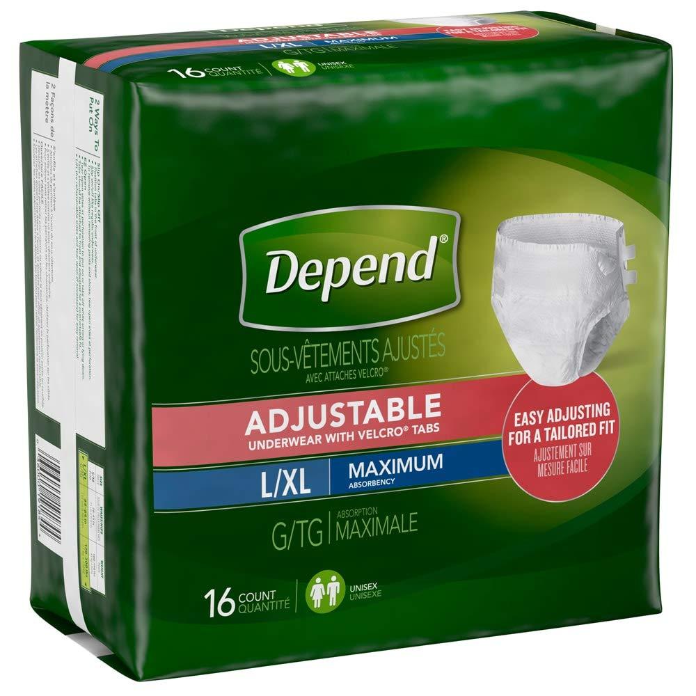 Depend Adjustable Underwear, Maximum Absorbency, Depend Rfst Undwr Lg-Xlg, (1 CASE, 64 EACH)