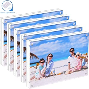 JUOIFIP 5 Pack Acrylic Picture Frames 3.5x5 inches, Clear Double Sided Magnetic Photo Block Frame, Desktop Display with Gift Box Package - Free Soft Microfiber