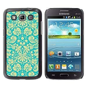 KOKO CASE / Samsung Galaxy Win I8550 I8552 Grand Quattro / papel pintado flores florales de la vendimia el arte de la turquesa / Delgado Negro Plástico caso cubierta Shell Armor Funda Case Cover