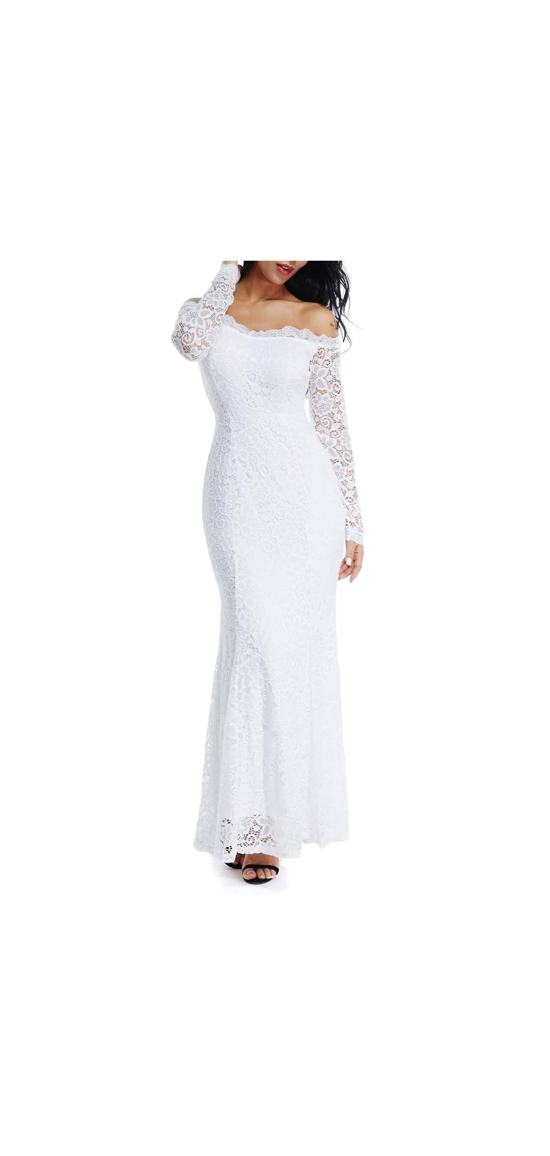 Women's Floral Lace Long Sleeve Off Shoulder Wedding