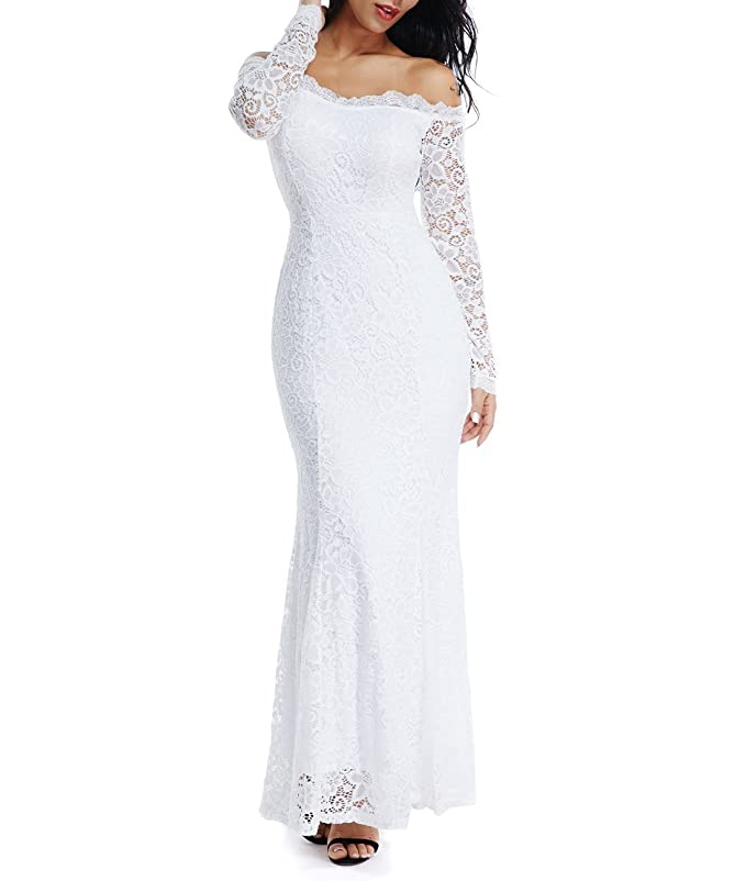 Lalagen Women's Floral Lace Long Sleeve Off Shoulder Wedding Mermaid Dress White1 S