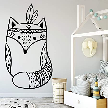 Geiqianjiumai Moda Fox Cartoon Mural Art Wall Decal DIY Poster ...
