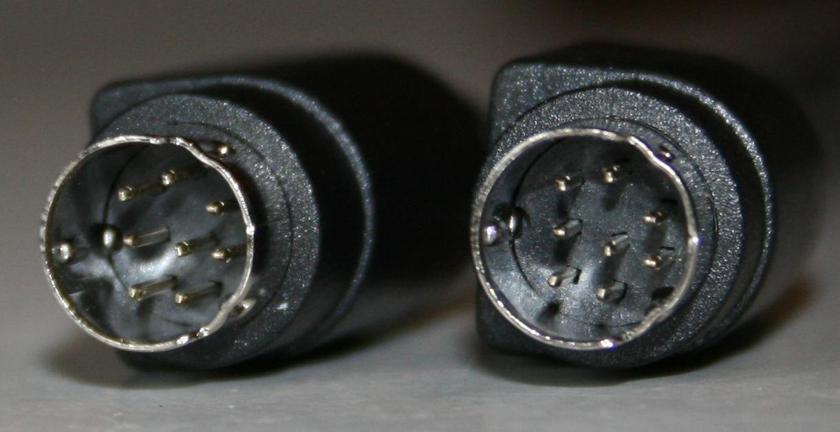8 Pin Mini Din Male Male Cable 6 Ft in Black