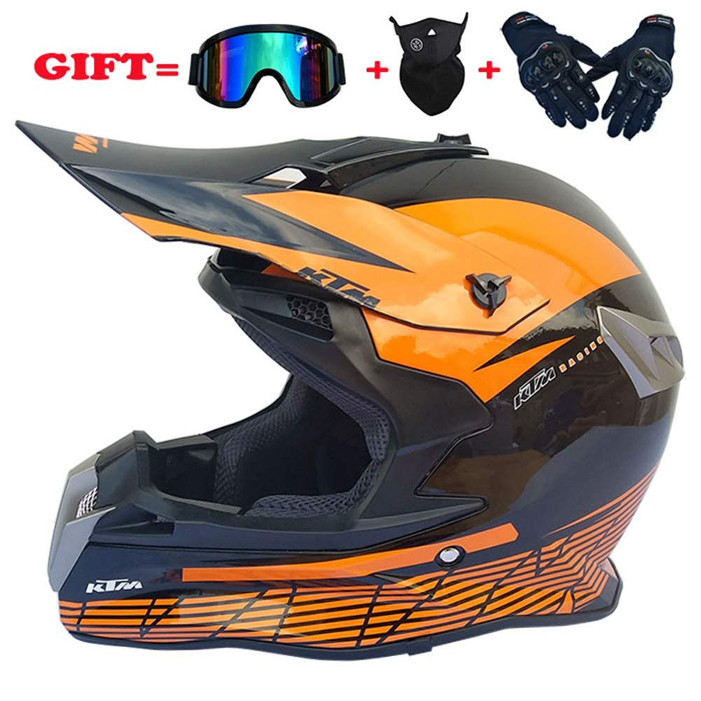 Motocross Helmet Off Road Motorcycle Dirt Bike ATV D.O.T Certified Dual Sport Endurance Race Helmet/Multicolor Goggles/Mask/Racing Gloves