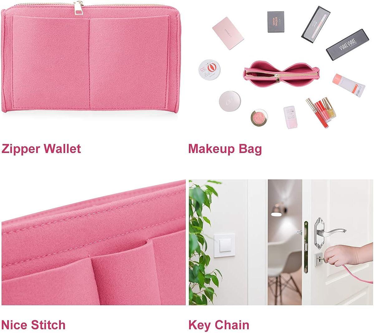 Purse Organizer Insert for Handbag Tote Felt Diaper Bag Organizer with Zipper Fits Neverfull MM Speedy 30