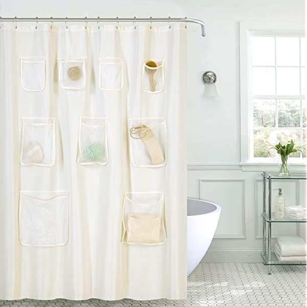 70-Inch by 72-Inch Frosty Clear Carnation Home Fashions PEVA Shower Curtain with Storage Pockets