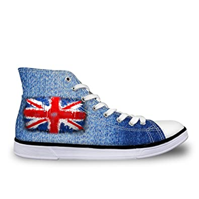 3821356b8630 chaqlin Casual High Top Canvas Shoes 3D Jean Britain Flag Printed Sneakers  for Trainer Training Size