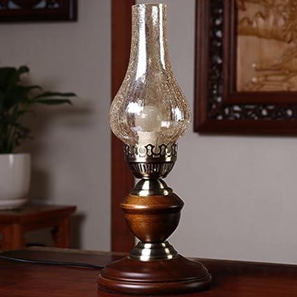 SOPHILAB Loft Retro Industrial Kerosene Table Stand Lights Lamps Vintage  Wood Base Edison Candle Glass Lamp
