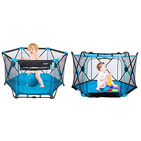 53 x 29 Play Portable Playard for Infants and Babies, 6-Panel Washable Mesh Playpen Indoor Outdoor with Carry Case