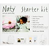 Naty by Nature Babycare Starter Kit with Newborn Size 1 (4-11 lbs/2-5 kg) Nappies, Wipes, Oil, Lotion and Organic Cotton Bib