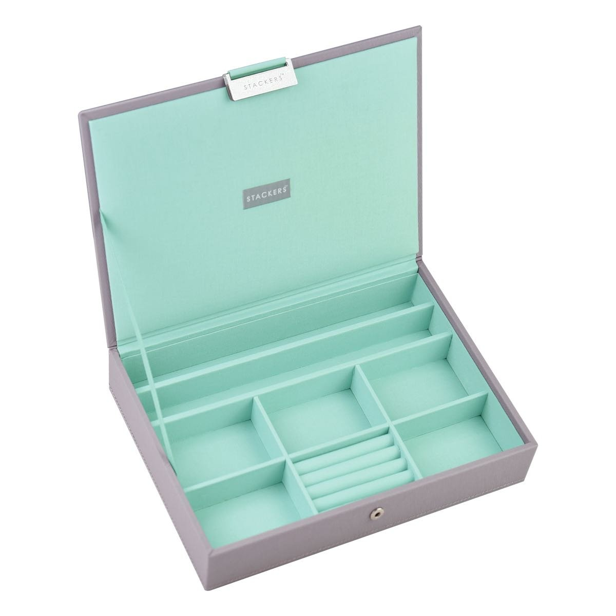STACKERS 'CLASSIC SIZE' Dove Grey Cross Hatch Lidded STACKER Jewellery Box with Mint Green Lining Carters of London 73545