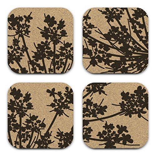 Cheap  Laceflower Modern Floral Design Square Cork Coaster Set