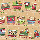 Jillson Roberts 6 Roll-Count Whimsical Winter Christmas Gift Wrap Available in 7 Designs, Christmas Train