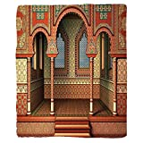VROSELV Custom Blanket Arabesque Middle East Oriental Inner Palace Islamic Architecture Vintage Art Design Soft Fleece Throw Blanket Golden Red