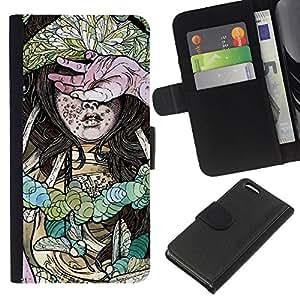 NEECELL GIFT forCITY // Billetera de cuero Caso Cubierta de protección Carcasa / Leather Wallet Case for Apple Iphone 5C // Hardcore Chica Insecto Ilustración