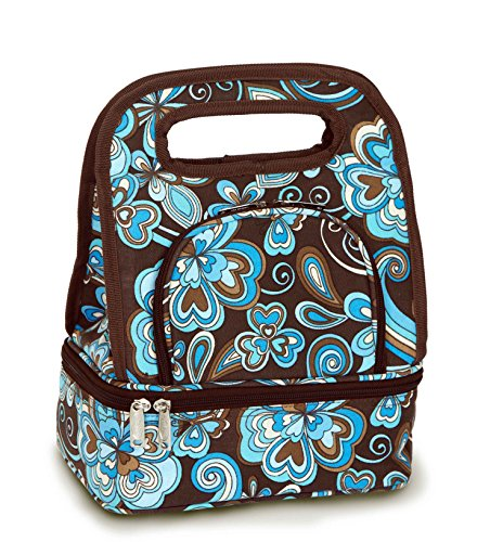Picnic Plus Savoy Lunch Bag Tote Fully Insulated Includes Bonus Storage Food Container Cocoa Cosmos