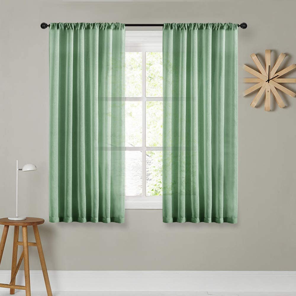 Window Treatments Mrtrees Short Sheer Curtains 45 Inches Long Aqua Blue Kitchen Curtains Transparent Sheers Voile Window Curtain Panels Bathroom Small Curtains Basement Rod Pocket 2 Panels Bedroom Home Kitchen Belasidevelopers Co Ke