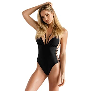 d7a77c6d690c1 Paymenow Womens Swimwear Monokini Swimsuits Sexy Cut Out Lace Up Sides One  Piece Bathing Suits (