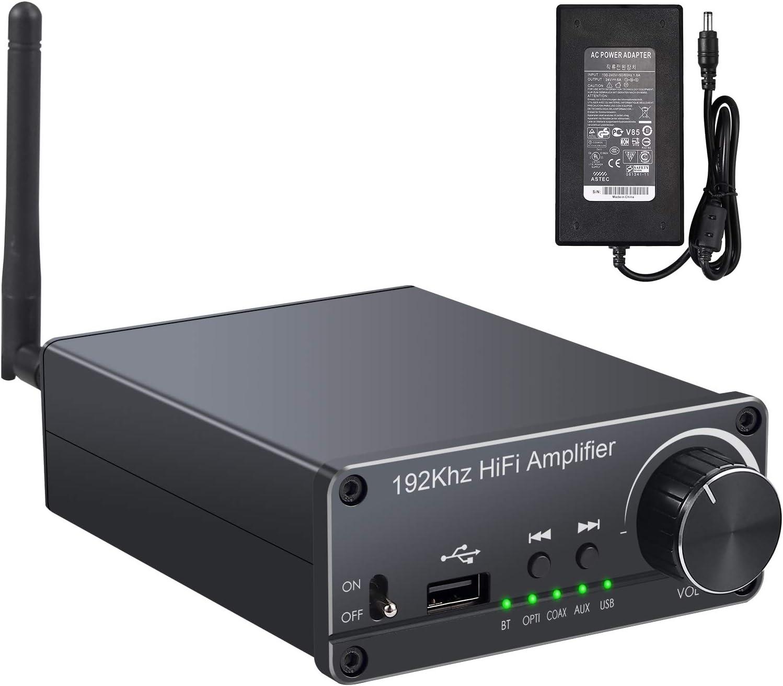 Neoteck Amplificador de Audio Estéreo 100W+100W con Receptor Bluetooth 5.0 HiFi Amplificador de Potencia Digital con 192kHz Convertidor de Óptico Coaxial USB a Analógico para Altavoces Domésticos
