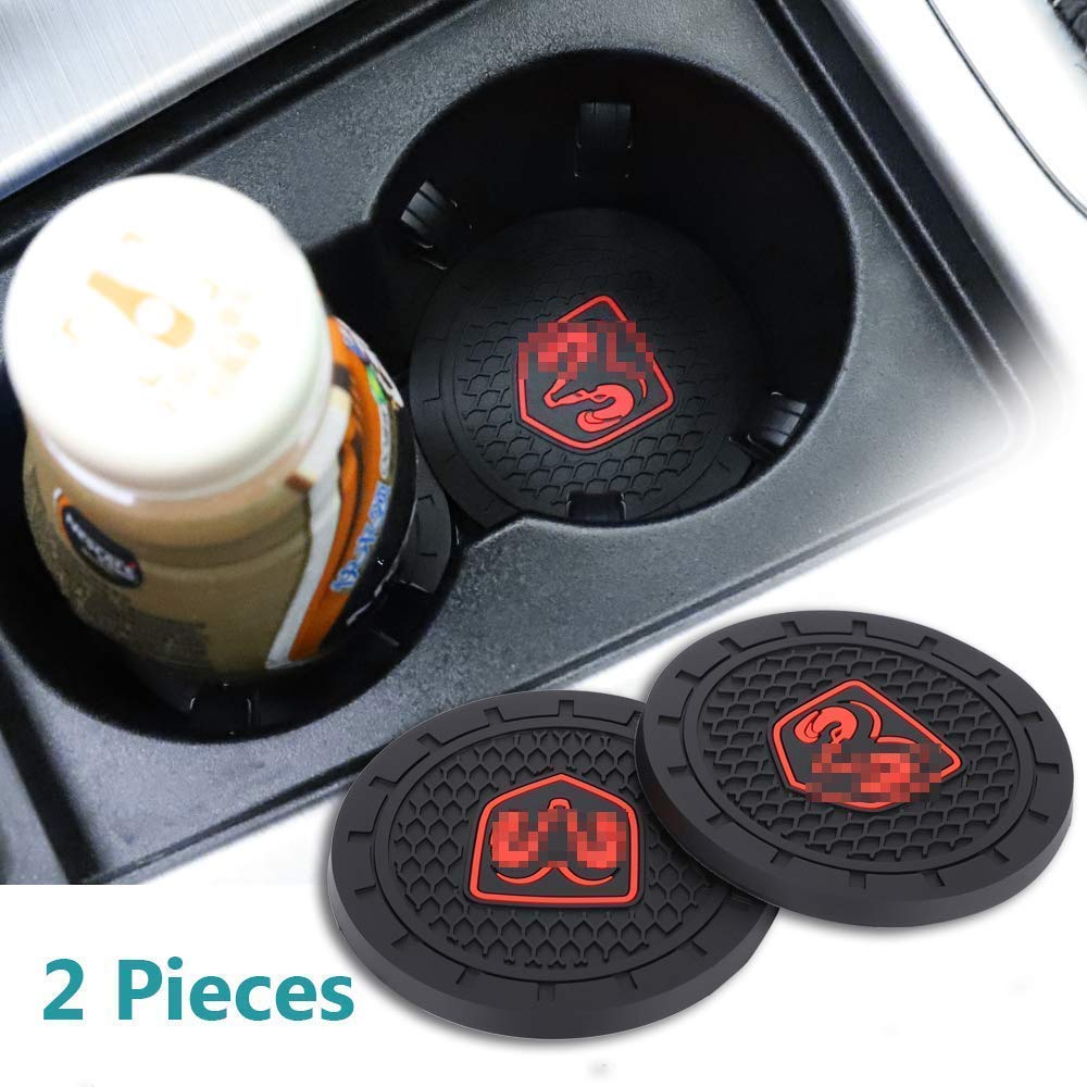 JIYUE 2 Pcs 3 inch Vehicle Travel Auto Cup Holder Insert Coaster Mat for Jeep All Models