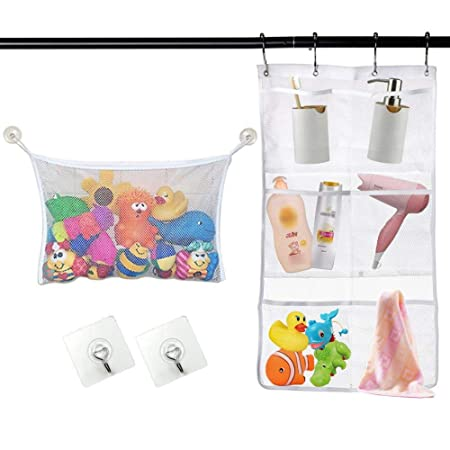 Bath Toys Baby Bath Toy Tidy Storage Net Suction Cup Bag Mesh Shower Bathroom Organiser UK