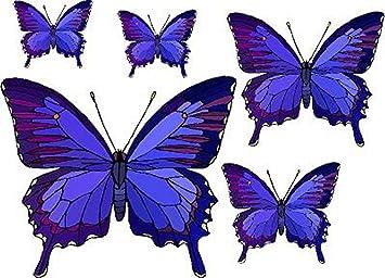 Amazoncom Set Of  Blue  Purple Butterflies Vinyl Stained - Butterfly vinyl decals