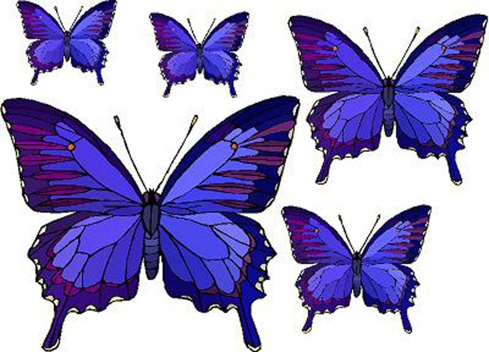 Set of 5 Blue & Purple Butterflies - Vinyl Stained Glass Film, Static Cling Window Decal