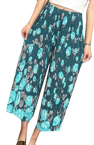 ebce83f458263 Pandapang Womens Printed Wide Leg Elastic Waist Folk Style Ankle Length  Palazzo Pants 11 One-Size at Amazon Women's Clothing store:
