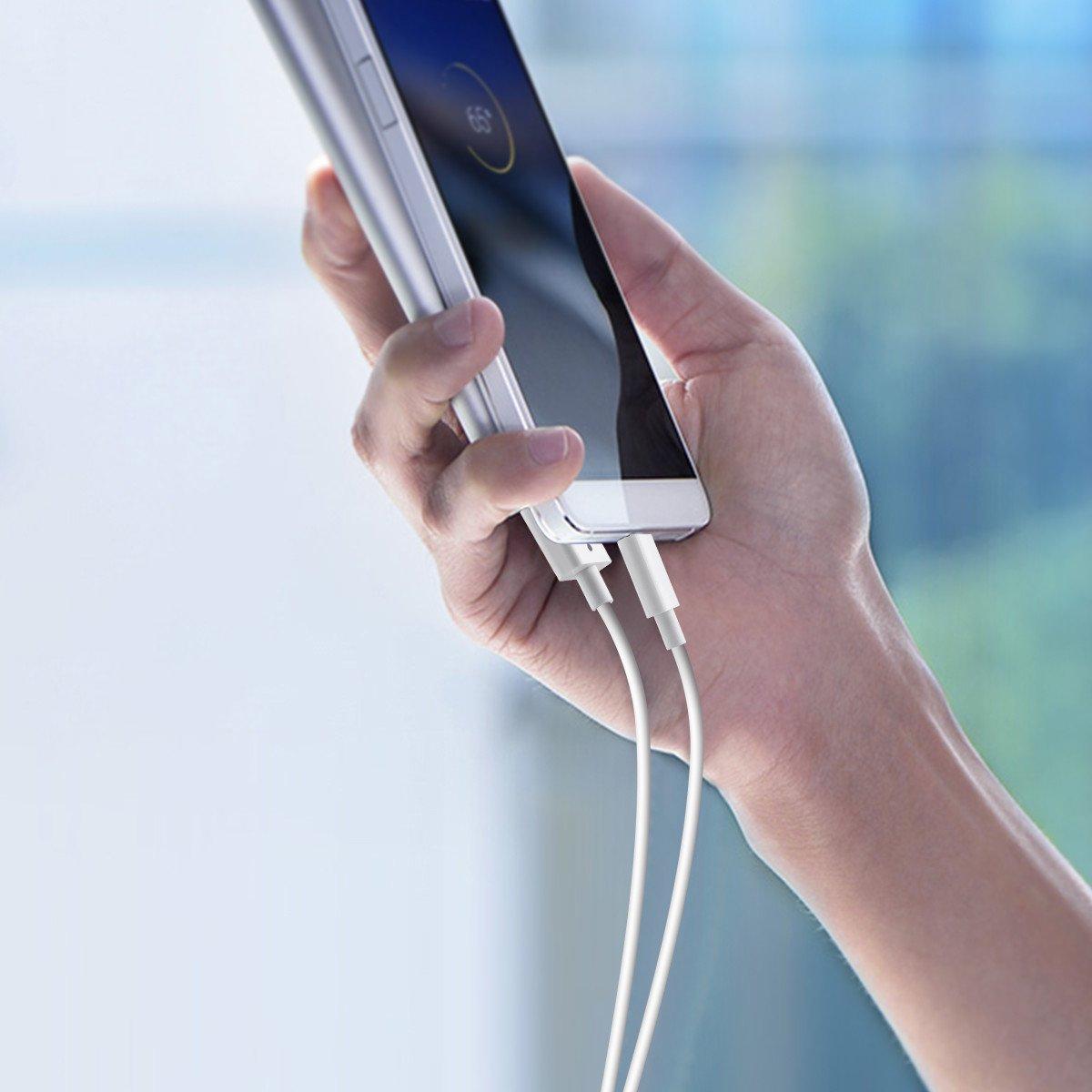 Poweradd 3 Unidades Cable Micro USB Carga Rápida (4ft/1.2m) 2A Cable USB Cable Cargador Movil con Alta Capacidad Velocidad para Dispositivos Android, Samsung, Huawei, LG, HTC, ZTE, Tabletas, PowerBank, Cargador portátil Cámara y más - Blanc