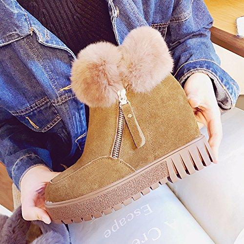 NSXZ zapatos de cuero dentro de las botas de cuero mate botas altas de piel de conejo muy femeninos, además de terciopelo , 90*160cm