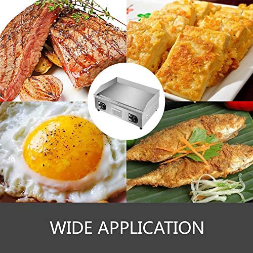 VEVOR Plancha Electrique 4400 W Plaque Electrique Plancha Acier Inox Parfaite pour Cuisson de Légumes, Viande, Steak, Calamars, Fromage Grillé, Pancakes