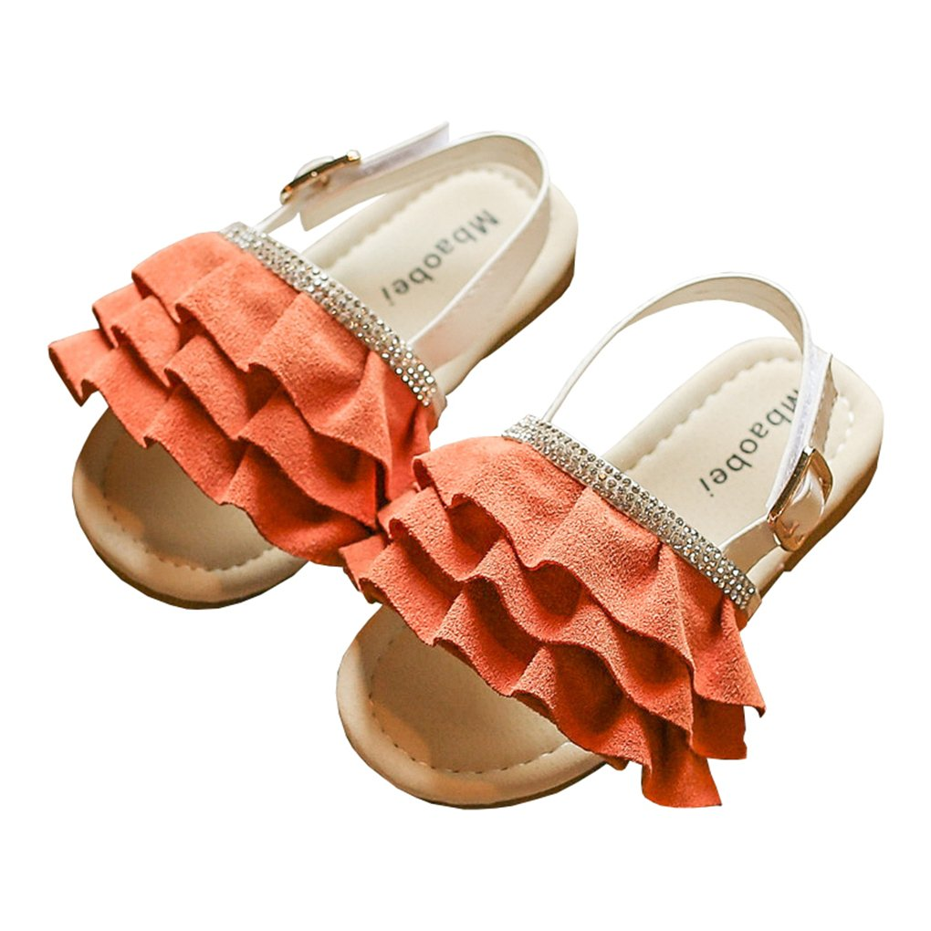 lakiolins Toddler Girls Layered Pleated Slip On Slides Summer Beach Slingback Flat Sandals Orange Size 25 by lakiolins (Image #1)