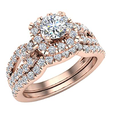 Amazon com: Diamond Loop Shank Cushion Shape Wedding Ring Set 1 05