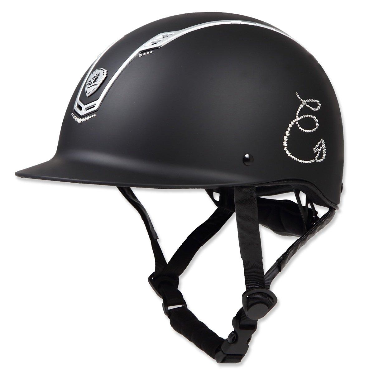 乗馬 ヘルメット プロテクター 乗馬帽 帽子 EQULIBERTA ホーススワロフスキー ソリッド ダイヤル調整ヘルメット 乗馬用品 馬具 B07FXKHHYL   Large