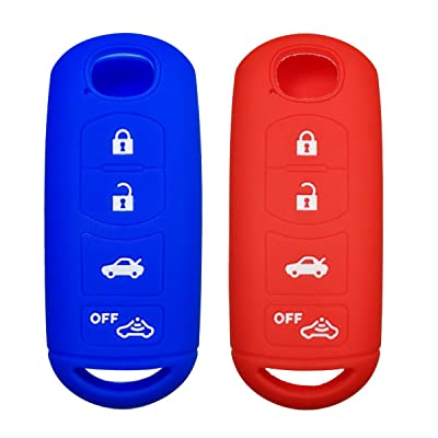 Coolbestda 2Pcs 4 Buttons Key Fob Cover Skin Remote Case Keyless Entry Jacket Shell for 2020 2020 Mazda CX-5 CX-7 CX-9 Mazda 3 6 MX-5 Miata Toyota Yaris Red Blue: Automotive