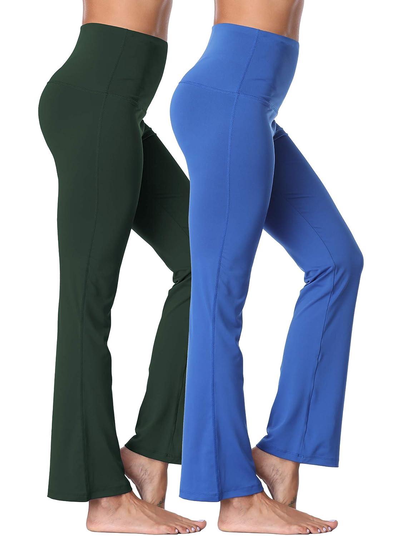 106  bluee Dark Green, 2 Pack Neleus High Waist Running Workout Leggings for Yoga with Pockets