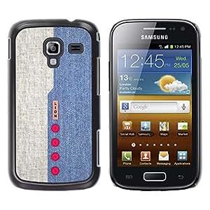 KOKO CASE / Samsung Galaxy Ace 2 I8160 Ace II X S7560M / diseño de mezclilla azul botones rojos textil / Delgado Negro Plástico caso cubierta Shell Armor Funda Case Cover