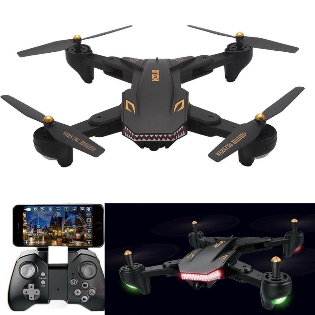 LCLrute Top Qualität Upgrade VISUO XS809HW Wifi FPV Weitwinkel 2MP 720 P Kamera 2.4G Selfie RC Quadcopter Spielzeug (Schwarz)